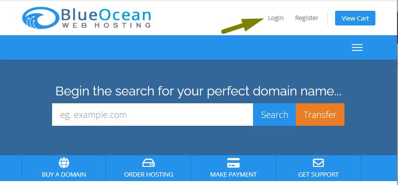 Login Screenshot Blue Ocean Web Hosting