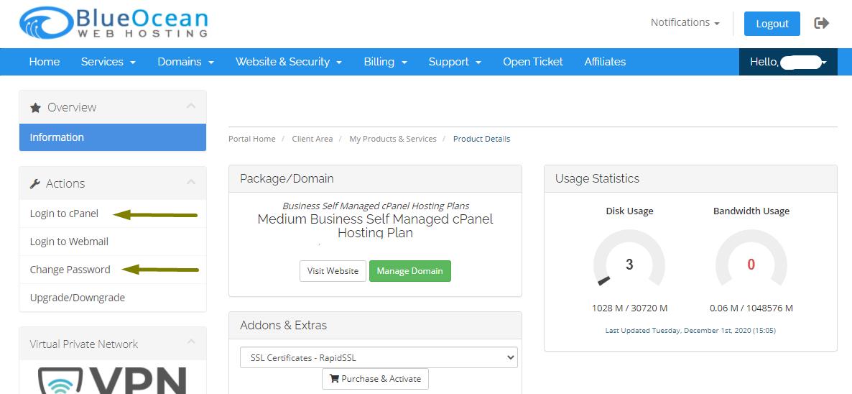 Product Details - Billing Portal - Blue Ocean Web Hosting